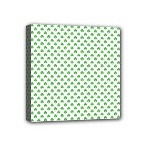 Green Heart Shaped Clover On White St  Patrick s Day Mini Canvas 4  X 4