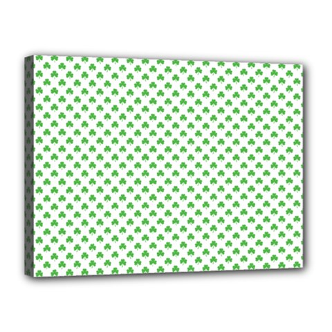 Green Heart Shaped Clover On White St  Patrick s Day Canvas 16  X 12
