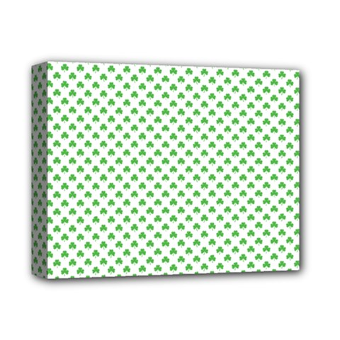 Green Heart Shaped Clover On White St  Patrick s Day Deluxe Canvas 14  X 11