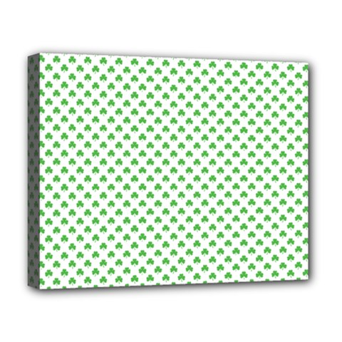 Green Heart Shaped Clover On White St  Patrick s Day Deluxe Canvas 20  X 16
