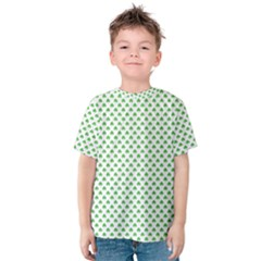 Green Heart Shaped Clover On White St  Patrick s Day Kids  Cotton Tee