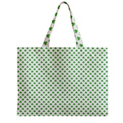 Green Heart Shaped Clover On White St  Patrick s Day Mini Tote Bag