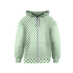 Green Heart Shaped Clover On White St  Patrick s Day Kids  Zipper Hoodie