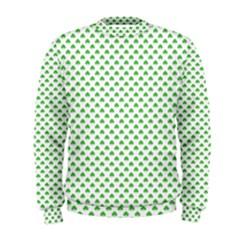 Green Heart Shaped Clover On White St  Patrick s Day Men s Sweatshirt