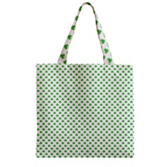 Green Heart Shaped Clover On White St  Patrick s Day Zipper Grocery Tote Bag