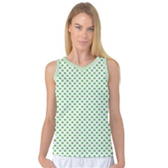 Green Heart Shaped Clover On White St  Patrick s Day Women s Basketball Tank Top