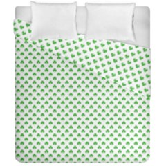 Green Heart Shaped Clover On White St  Patrick s Day Duvet Cover Double Side (california King Size)