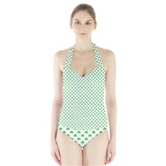 Green Heart Shaped Clover On White St  Patrick s Day Halter Swimsuit