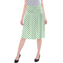 Green Heart Shaped Clover On White St  Patrick s Day Midi Beach Skirt