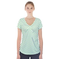 Green Heart Shaped Clover On White St  Patrick s Day Short Sleeve Front Detail Top