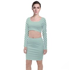 Green Heart Shaped Clover On White St  Patrick s Day Long Sleeve Crop Top & Bodycon Skirt Set