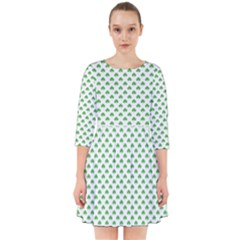 Green Heart Shaped Clover On White St  Patrick s Day Smock Dress