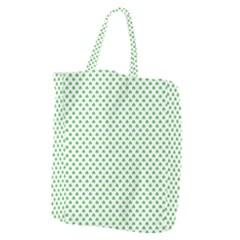 Green Heart Shaped Clover On White St  Patrick s Day Giant Grocery Zipper Tote
