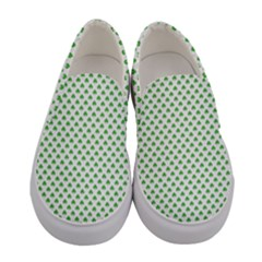 Green Heart Shaped Clover On White St  Patrick s Day Women s Canvas Slip Ons