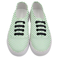 Green Heart Shaped Clover On White St  Patrick s Day Women s Classic Low Top Sneakers