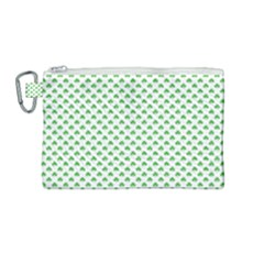 Green Heart Shaped Clover On White St  Patrick s Day Canvas Cosmetic Bag (medium)