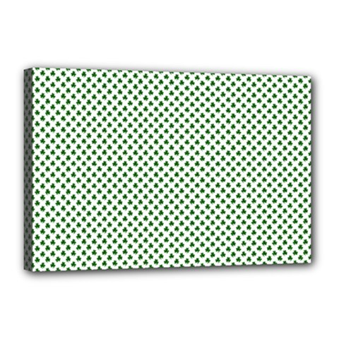 Shamrock 2 Tone Green On White St Patrick?¯s Day Clover Canvas 18  X 12