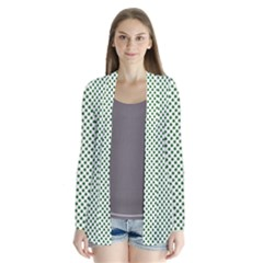 Shamrock 2 Tone Green On White St Patrick?¯s Day Clover Drape Collar Cardigan