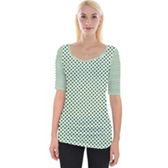Shamrock 2 Tone Green On White St Patrick?¯s Day Clover Wide Neckline Tee