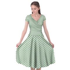 Shamrock 2 Tone Green On White St Patrick?¯s Day Clover Cap Sleeve Wrap Front Dress