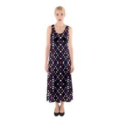 Futuristic Geometric Pattern Sleeveless Maxi Dress
