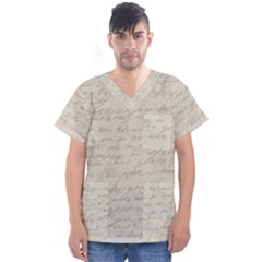 Handwritten Letter 2 Men s V Neck Scrub Top