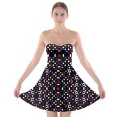Futuristic Geometric Pattern Strapless Bra Top Dress