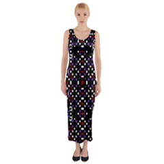 Futuristic Geometric Pattern Fitted Maxi Dress