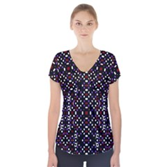 Futuristic Geometric Pattern Short Sleeve Front Detail Top