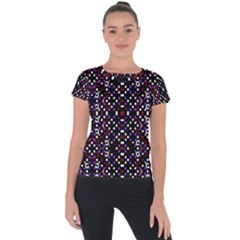Futuristic Geometric Pattern Short Sleeve Sports Top