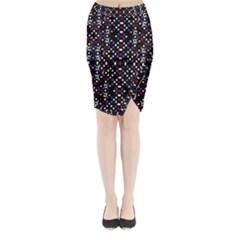 Futuristic Geometric Pattern Midi Wrap Pencil Skirt