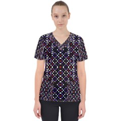 Futuristic Geometric Pattern Scrub Top