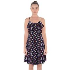 Futuristic Geometric Pattern Ruffle Detail Chiffon Dress