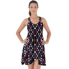 Futuristic Geometric Pattern Show Some Back Chiffon Dress