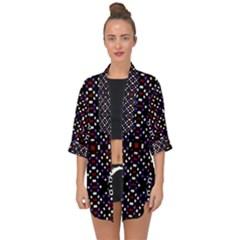 Futuristic Geometric Pattern Open Front Chiffon Kimono