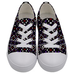 Futuristic Geometric Pattern Kids  Low Top Canvas Sneakers