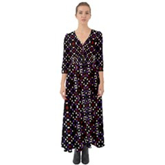 Futuristic Geometric Pattern Button Up Boho Maxi Dress