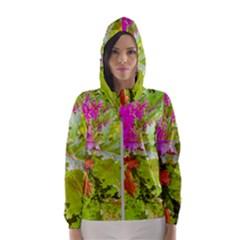 Colored Plants Photo Hooded Wind Breaker (women)