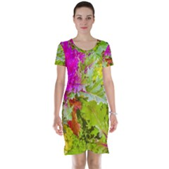 Colored Plants Photo Short Sleeve Nightdress