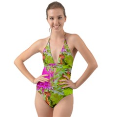Colored Plants Photo Halter Cut Out One Piece Swimsuit