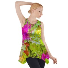 Colored Plants Photo Side Drop Tank Tunic