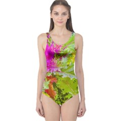 Colored Plants Photo One Piece Swimsuit