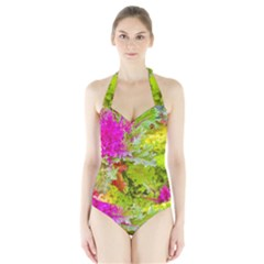 Colored Plants Photo Halter Swimsuit