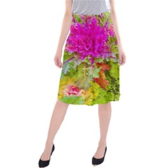 Colored Plants Photo Midi Beach Skirt