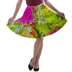 Colored Plants Photo A Line Skater Skirt