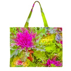 Colored Plants Photo Zipper Large Tote Bag