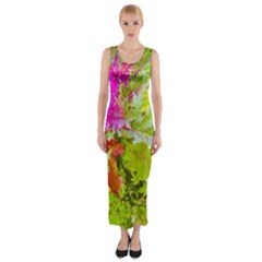 Colored Plants Photo Fitted Maxi Dress
