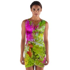 Colored Plants Photo Wrap Front Bodycon Dress