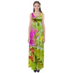 Colored Plants Photo Empire Waist Maxi Dress