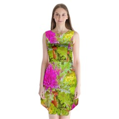 Colored Plants Photo Sleeveless Chiffon Dress